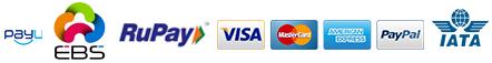 PayU EBS RUPAY VISA MASTER CARD AMERICAN EXPRESS PAYPAL IATA